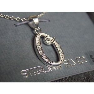 Sterling Silver Letter O Charm Pendent Necklace